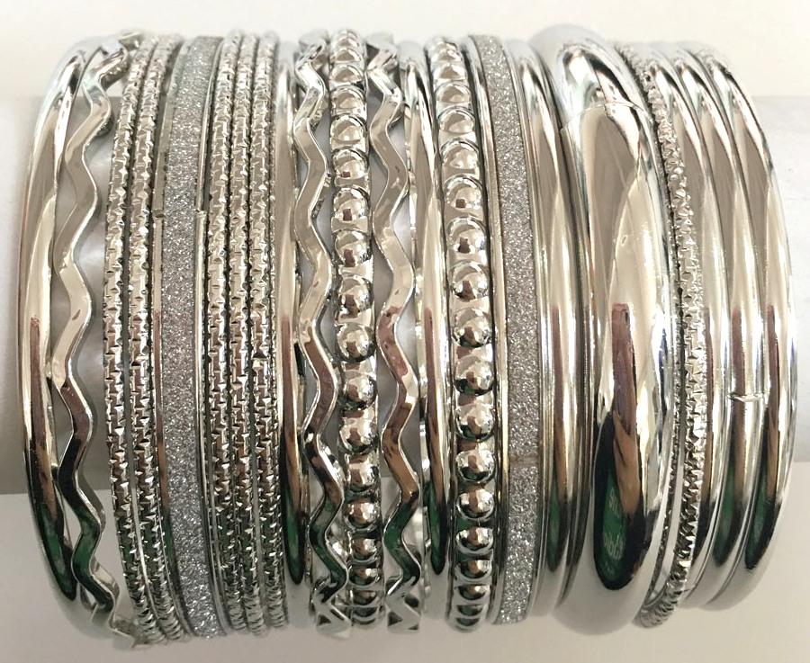 Silver Glitter Bangle Set